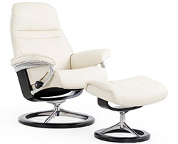 Stressless Sunrise Signature Base Recliner Chair and Ottoman