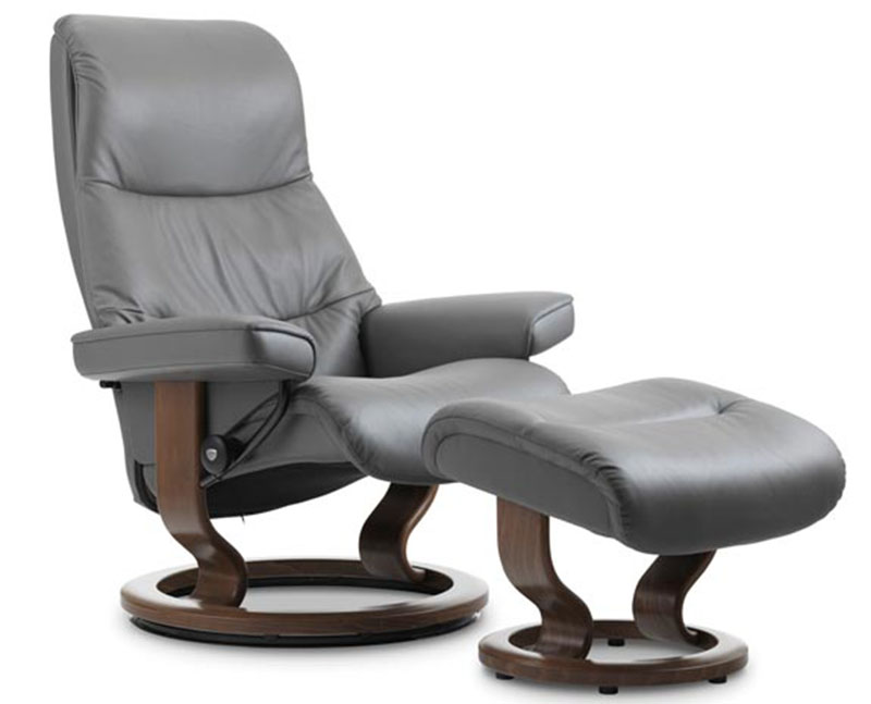 Stressless View Classic Wood Base Recliner Chair  sc 1 st  Vitalityweb.com & Stressless View Classic Base Leather Recliner and Ottoman by ... islam-shia.org