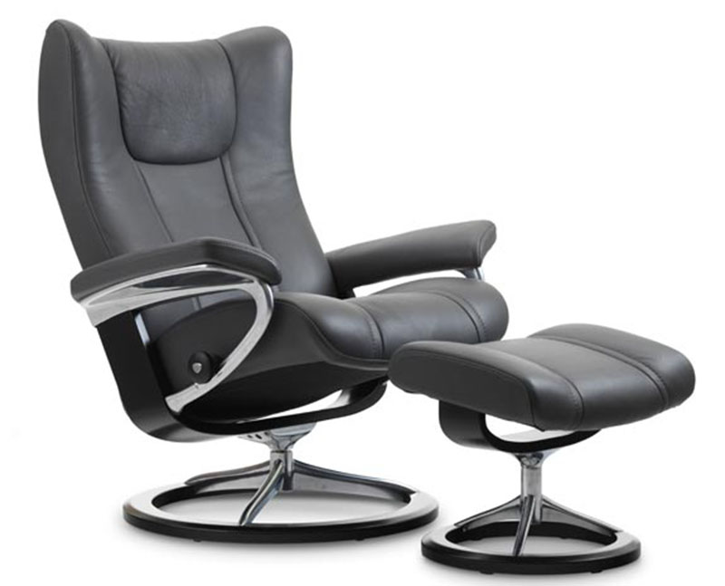 Stressless Wing Signature Base Recliner Chair And Ottoman