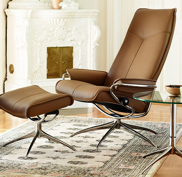 Superbe Stressless City High Back Brown Paloma Leather Recliner Chair And Ottoman  By Ekornes