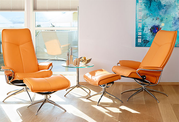 Stressless City High Back Clementine Leather Recliner Chair And Ottoman By  Ekornes