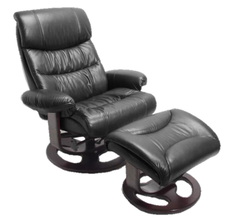 Barcalounger Dawson 8038 Black Leather Recliner Chair And Ottoman ...