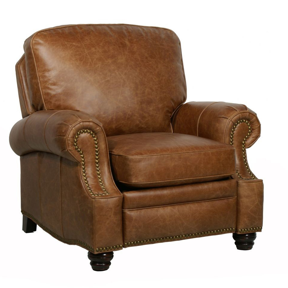 Barcalounger longhorn ii leather recliner chair leather for Chair recliner