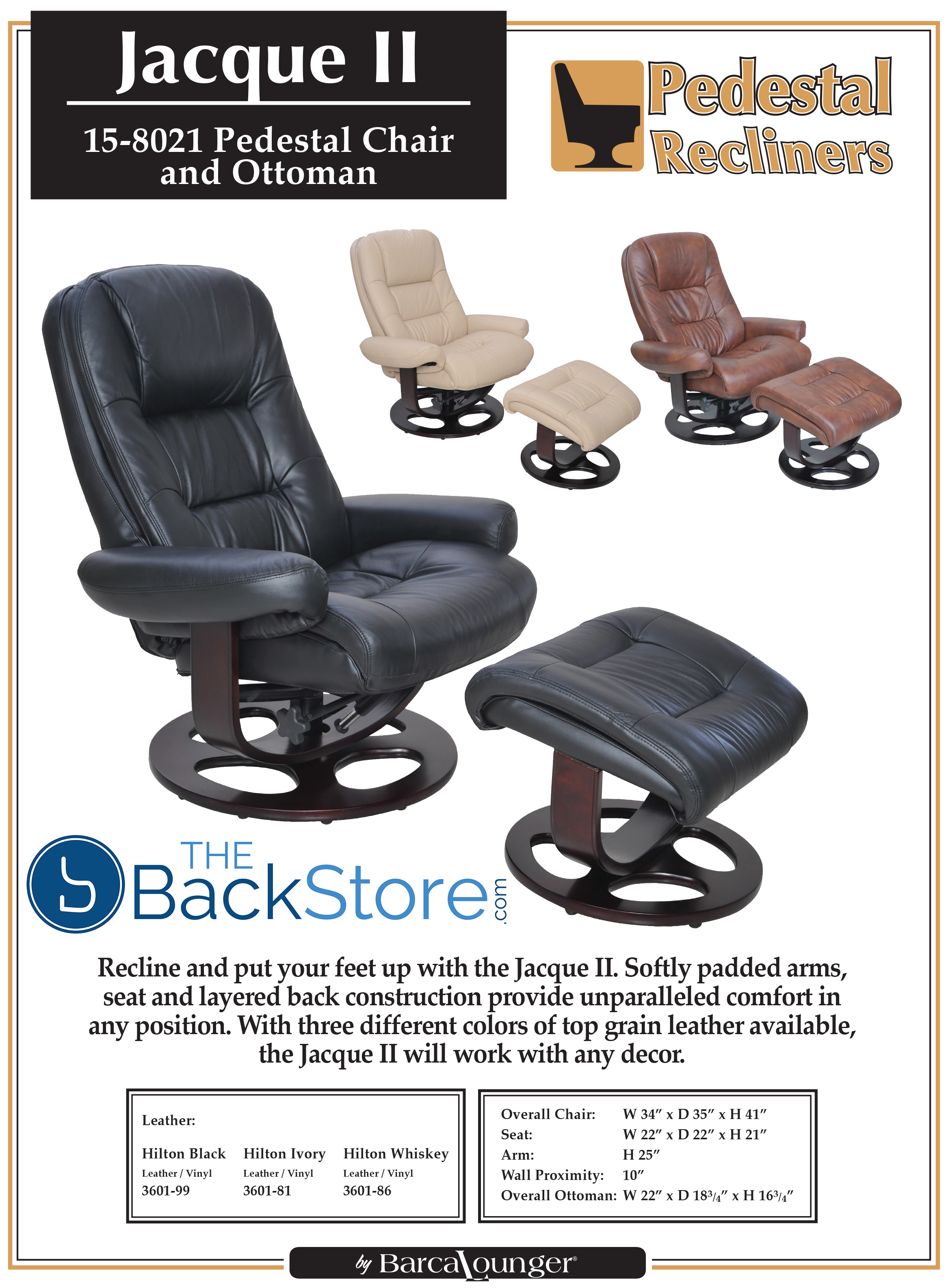Barcalounger Jacque II Genuine Black Hilton Leather Recliner Chair And  Ottoman 619084074502 | EBay