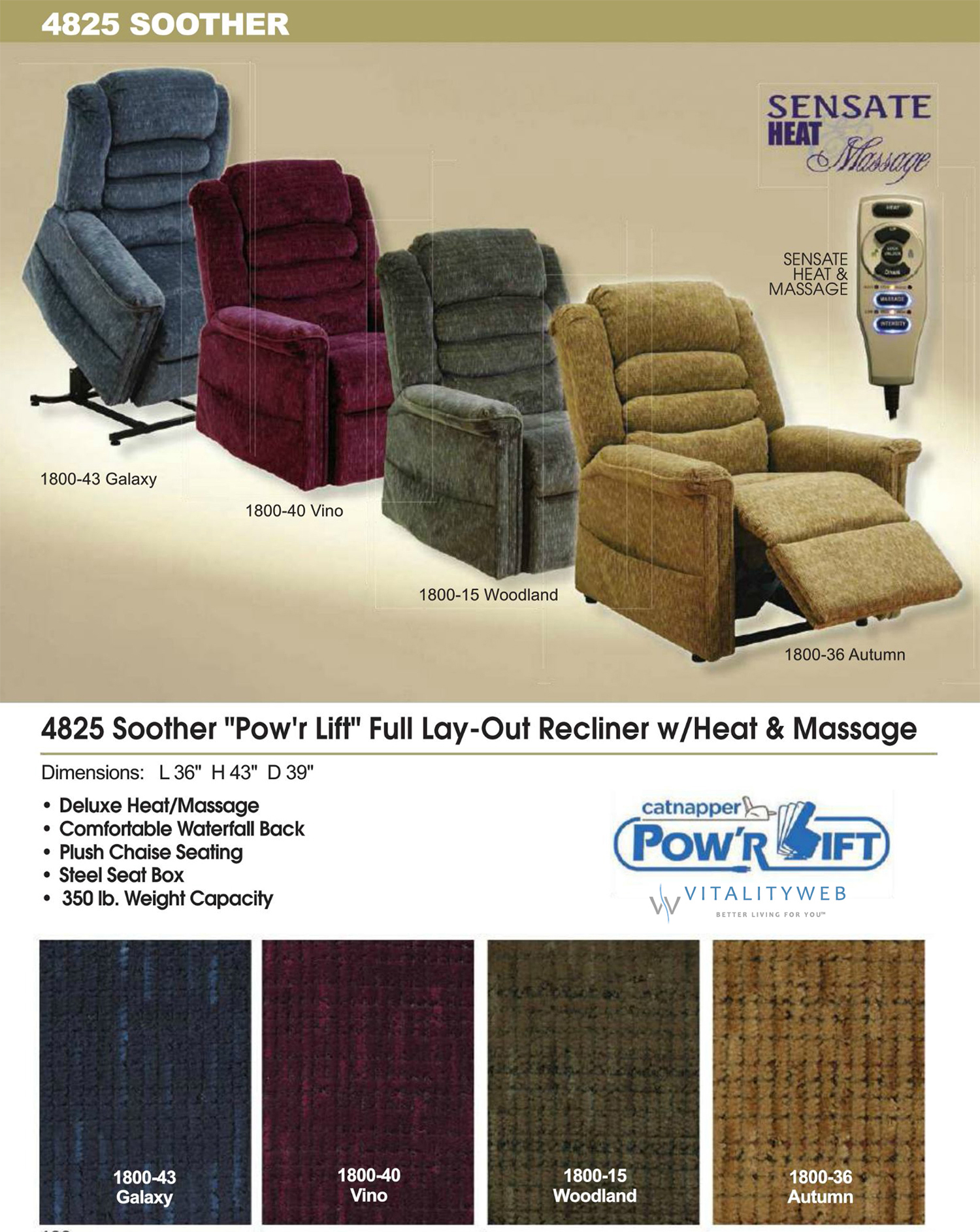 Catnapper Soother 4825 Power Lift Chair Recliner with Heat and