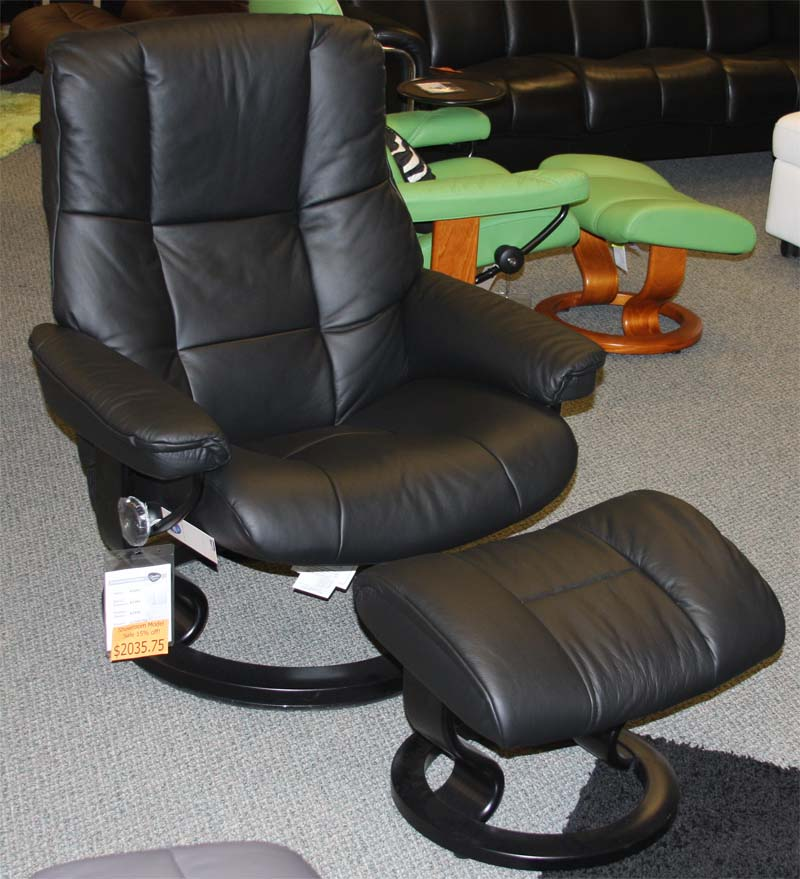 Stressless Paloma Black 09419 Leather Color Recliner Chair and Ottoman from Ekornes