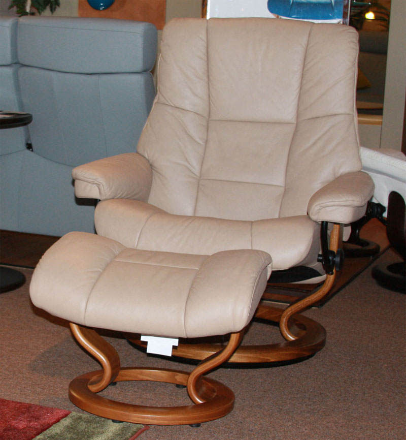 Stressless Chelsea Paloma Sand Leather Recliner Chair And Ottoman By Ekornes