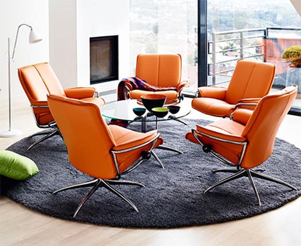ekornes stressless city low back leather recliner chair city chair lounger ekornes. Black Bedroom Furniture Sets. Home Design Ideas
