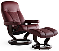 Stressless Consul Classic Hourglass Wood Base Recliner Chair and Ottoman by Ekornes