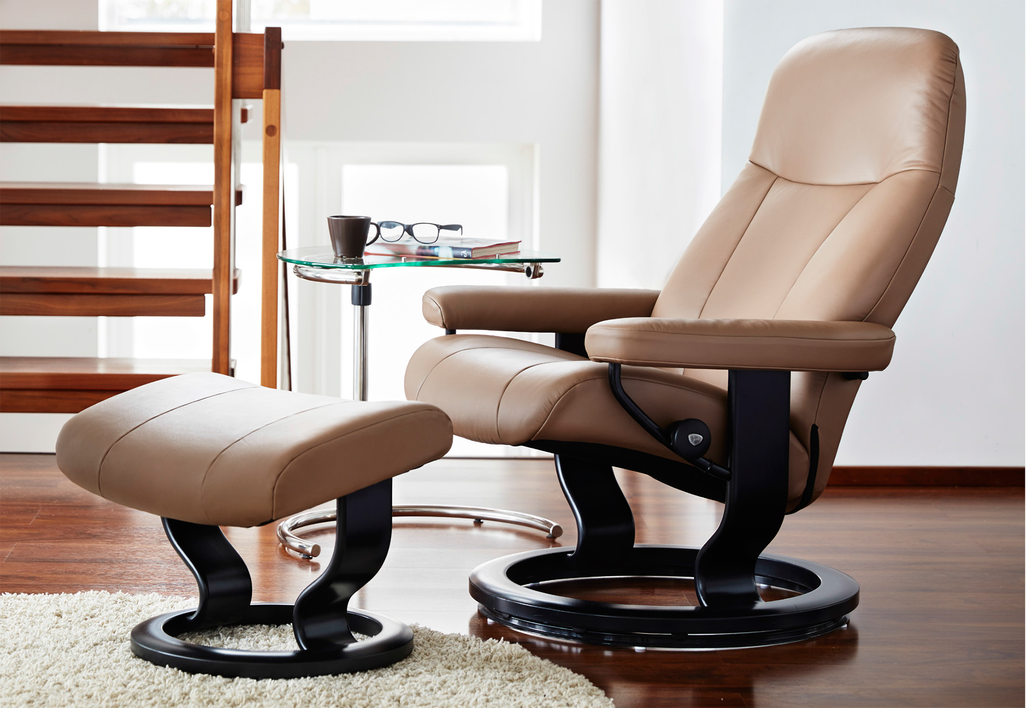 Stressless Garda Recliner Chair and Ottoman by Ekornes Garda