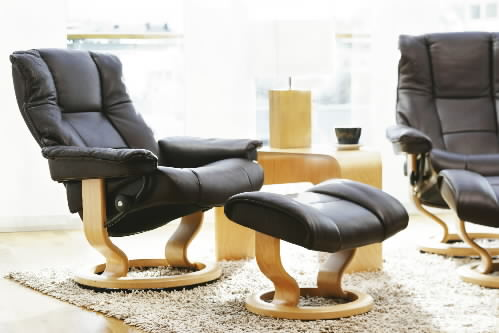Stressless Mayfair Paloma Black Leather Recliner Chair by Ekornes