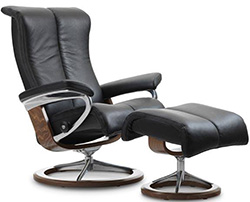 Stressless Piano Signature Base Recliner Chair and Ottoman