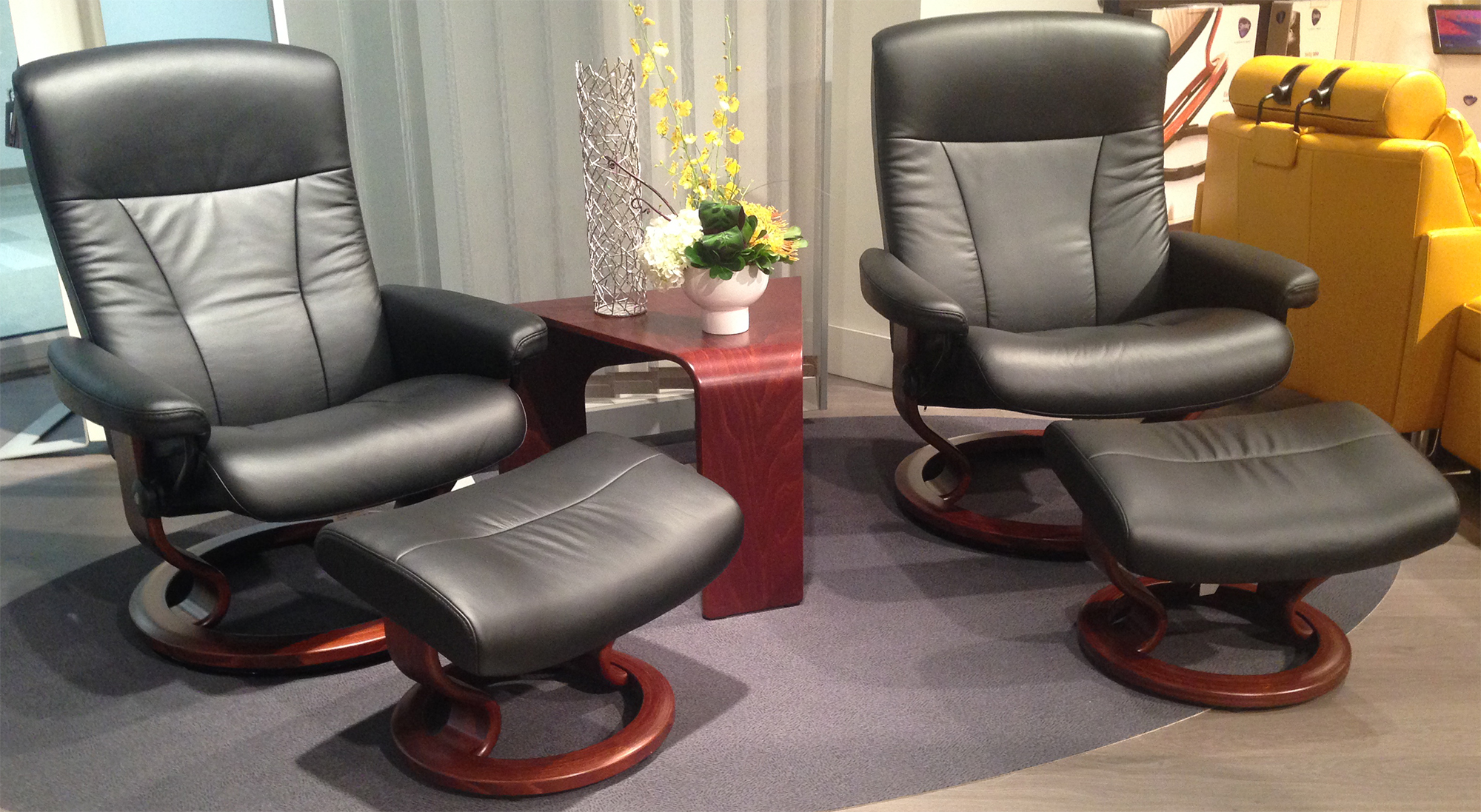 Stressless President Recliner Chair And Ottoman In Paloma Black Leather