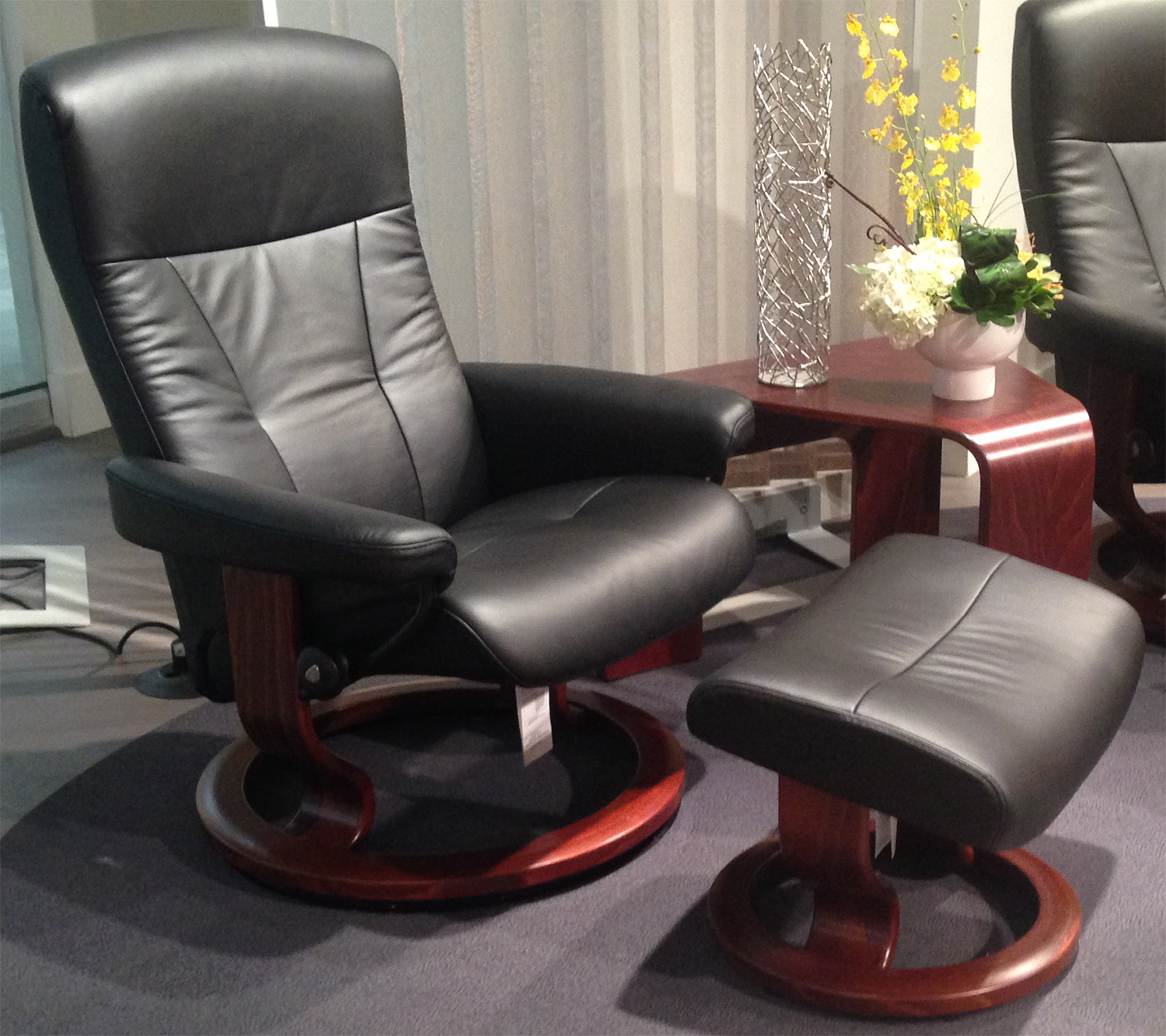 Superior Stressless President Recliner Chair And Ottoman In Black Leather