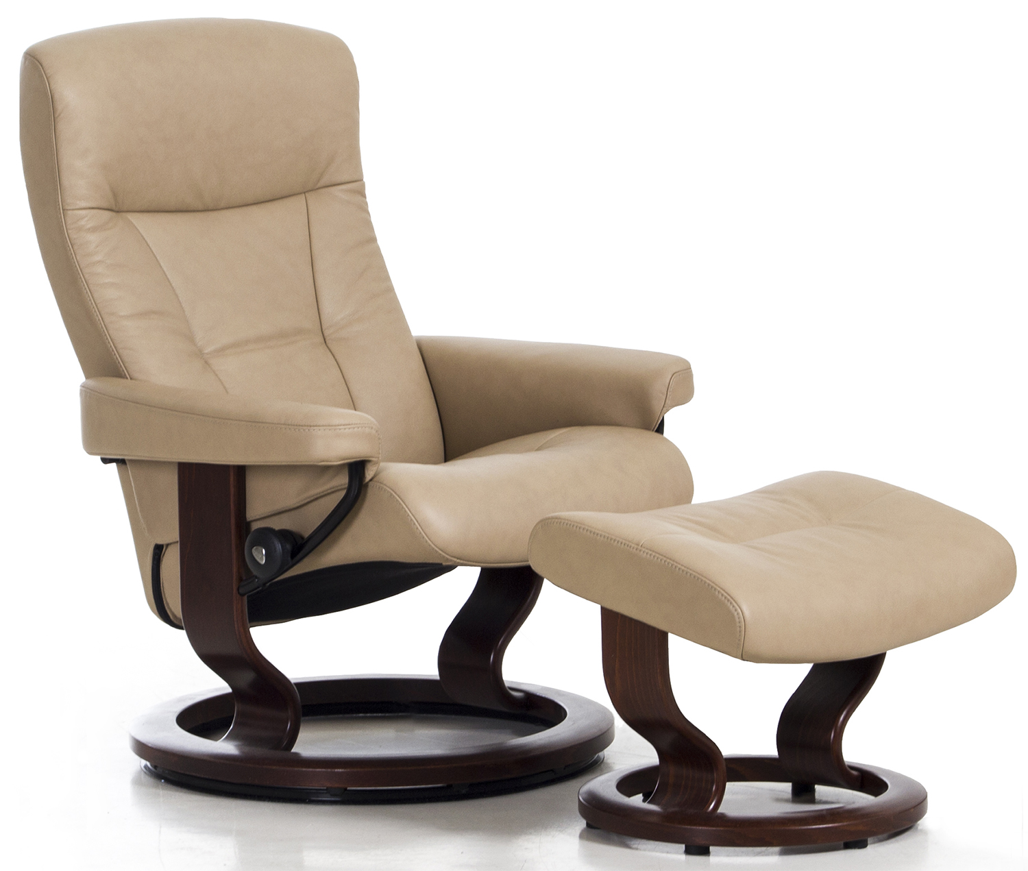 Stressless President Recliner Chair And Ottoman In Paloma Sand Leather