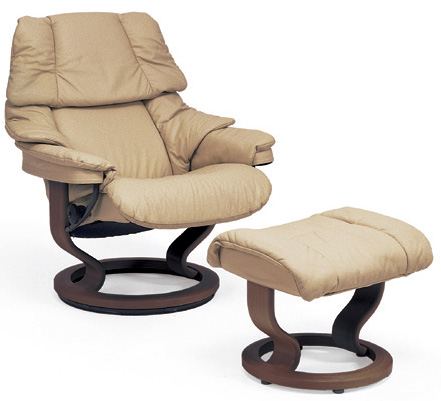 Stressless Reno Classic Wood Base Recliner Chair and Ottoman