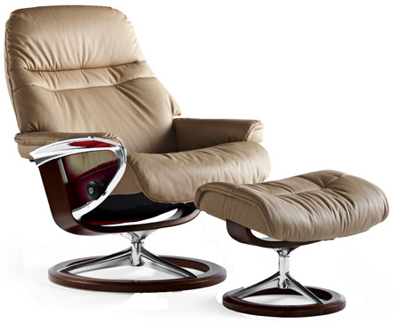 Stressless Sunrise Signature Chrome Wood Base Recliner