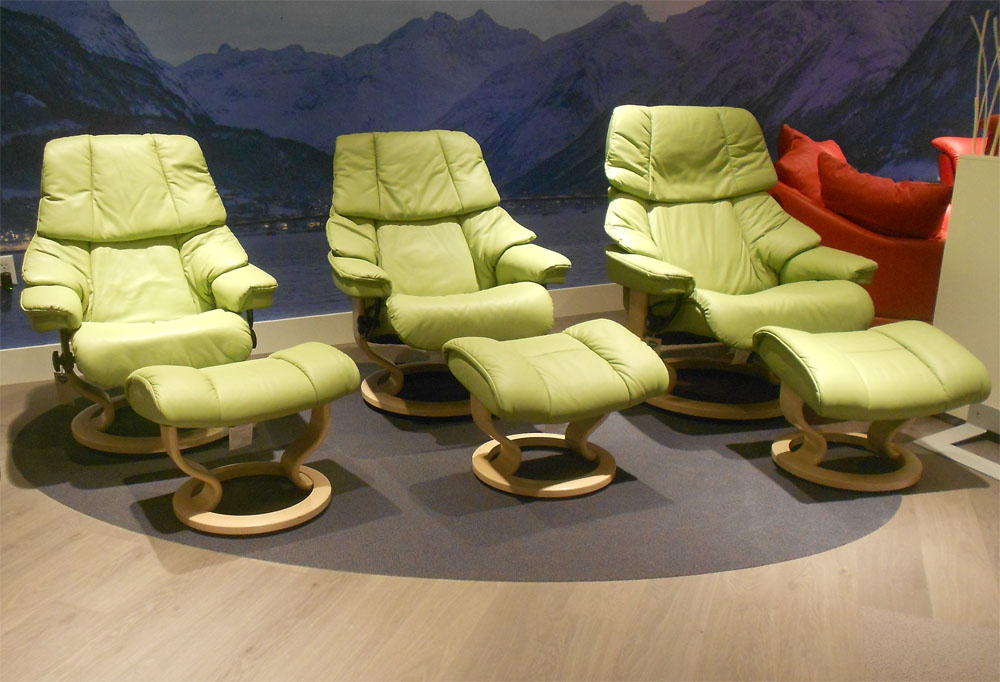 Charming Stressless Vegas Paloma Green Leather Color Recliner Chair And Ottoman From  Ekornes