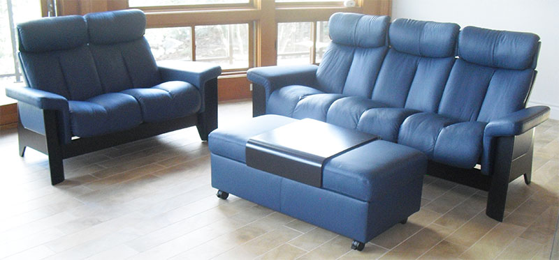 Stressless Wizard High Back Sofa in Paloma Oxford Blue Leather