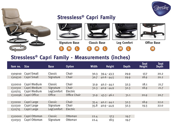 Stressless Capri Recliner Chair and Ottoman Size Dimensions