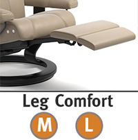 Stressless Chelsea Small Mayfair LegComfort Power Extending Footrest with Classic Wood Base