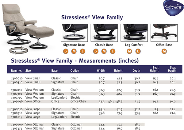 Stressless View Family Recliner Chair and Ottoman