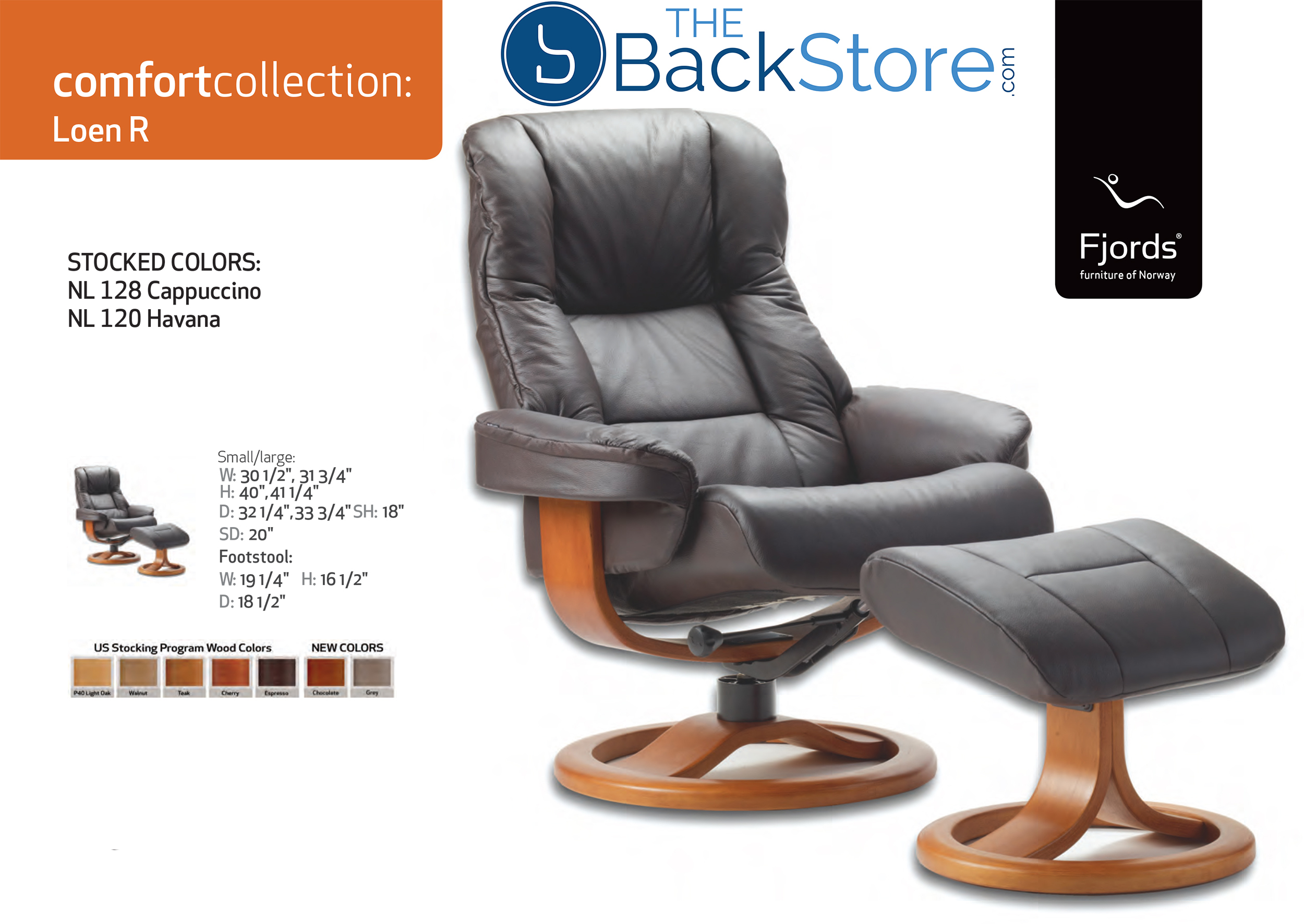Fjords Loen Leather Recliner Chair And Ottoman