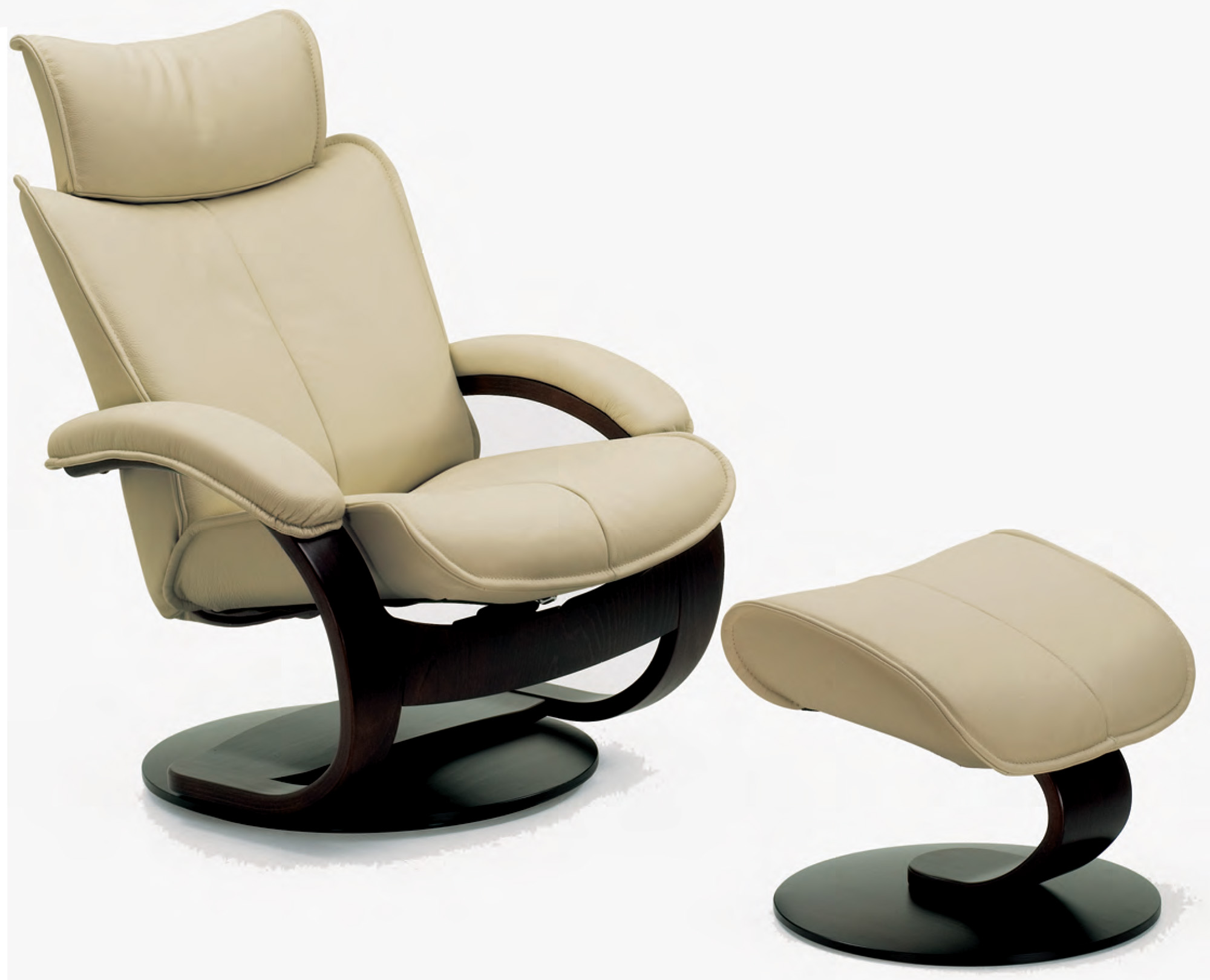 Good Fjords Ona Ergonomic Leather Recliner Chair And Ottoman Scandinavian Lounger