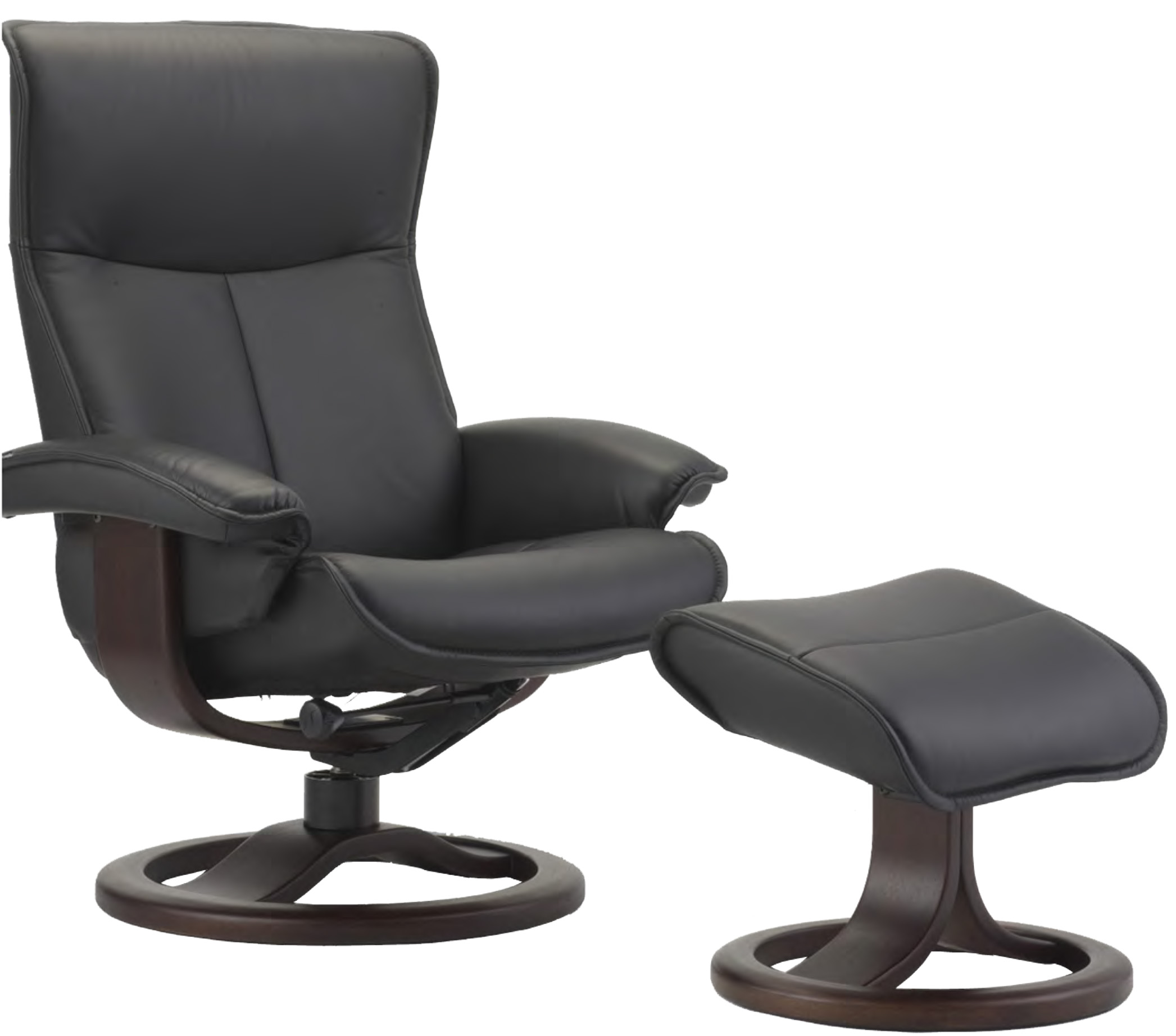 Nice Fjords Senator Ergonomic Leather Recliner Chair And Ottoman Scandinavian