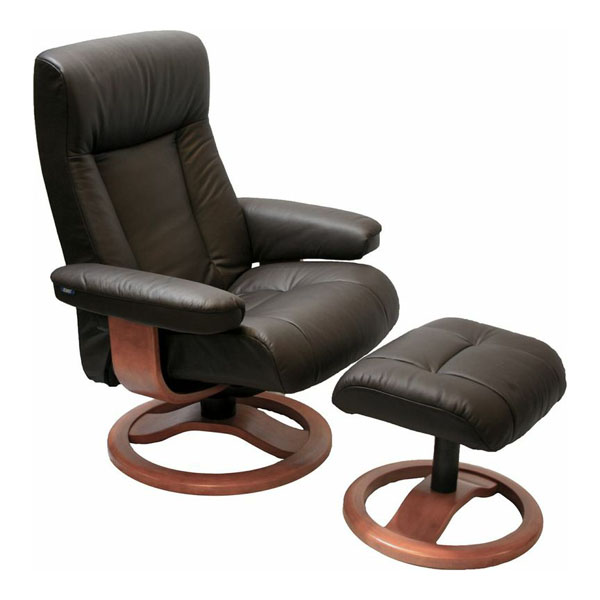 Awesome Havana Leather Fjords ScanSit 110 Recliner Chair And Ottoman