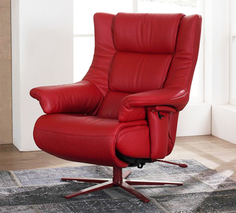 Genial Himolla Opus Red Leather ZeroStress Integrated Recliner Chair