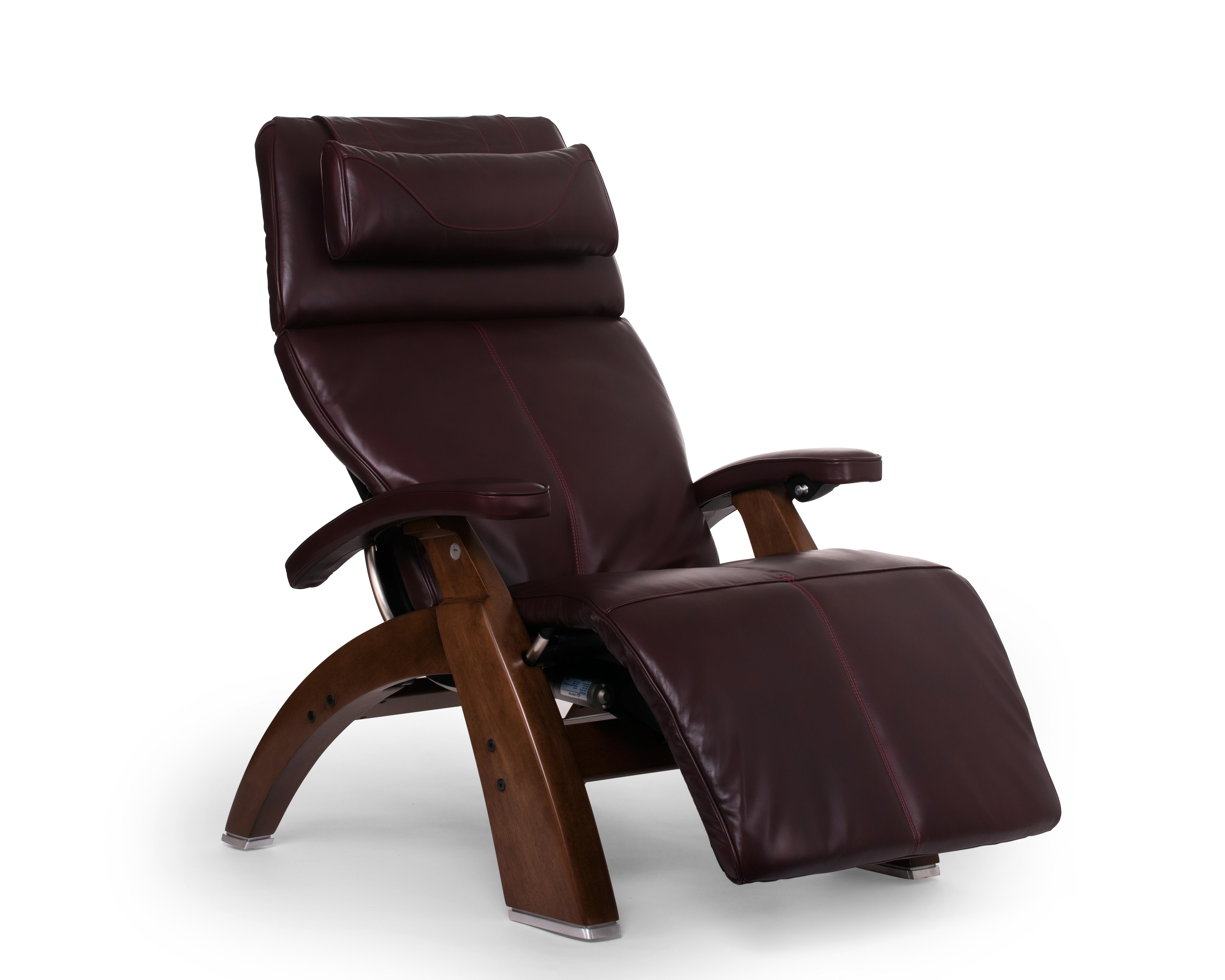 Burgundy Premium Leather Walnut Wood Base Series 2 Classic