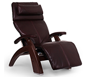 Burgundy Premium Leather with Chestnut Wood Base Series 2 Classic Human Touch PC-420 PC-600 PC-610 Perfect Chair Recliner by Human Touch