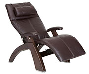 Espresso Premium Leather with Dark Walnut Wood Base Series 2 Classic Human Touch PC-420 PC-600 PC-610 Perfect Chair Recliner by Human Touch
