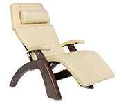 Ivory Leather with Dark Walnut Wood Base Series 2 Classic Human Touch PC-420 PC-600 PC-610 Perfect Chair Recliner by Human Touch