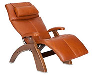 Cognac Premium Leather with Walnut Wood Base Series 2 Classic Human Touch PC-420 PC-600 PC-610 Perfect Chair Recliner by Human Touch