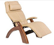 Sand Leather with Walnut Wood Base Series 2 Classic Human Touch PC-420 PC-600 PC-610 Perfect Chair Recliner by Human Touch