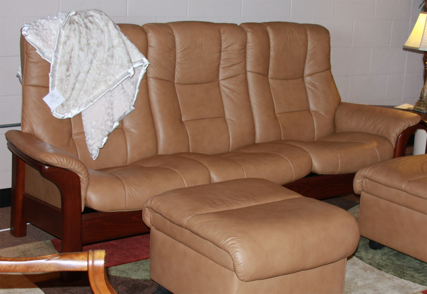 Captivating Stressless Buckingham 3 Seat High Back Sofa Paloma Taupe Color Leather  Recliner Sofa