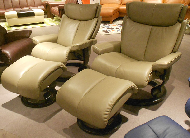 Stressless Magic Royalin Mole Leather Recliner Chair - Florescent