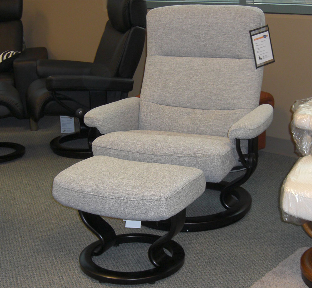Charmant Stressless Pacific Grey Fabric Recliner Chair