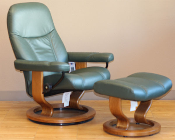 Stressless Diplomat Small Batick Hunter Green Leather By