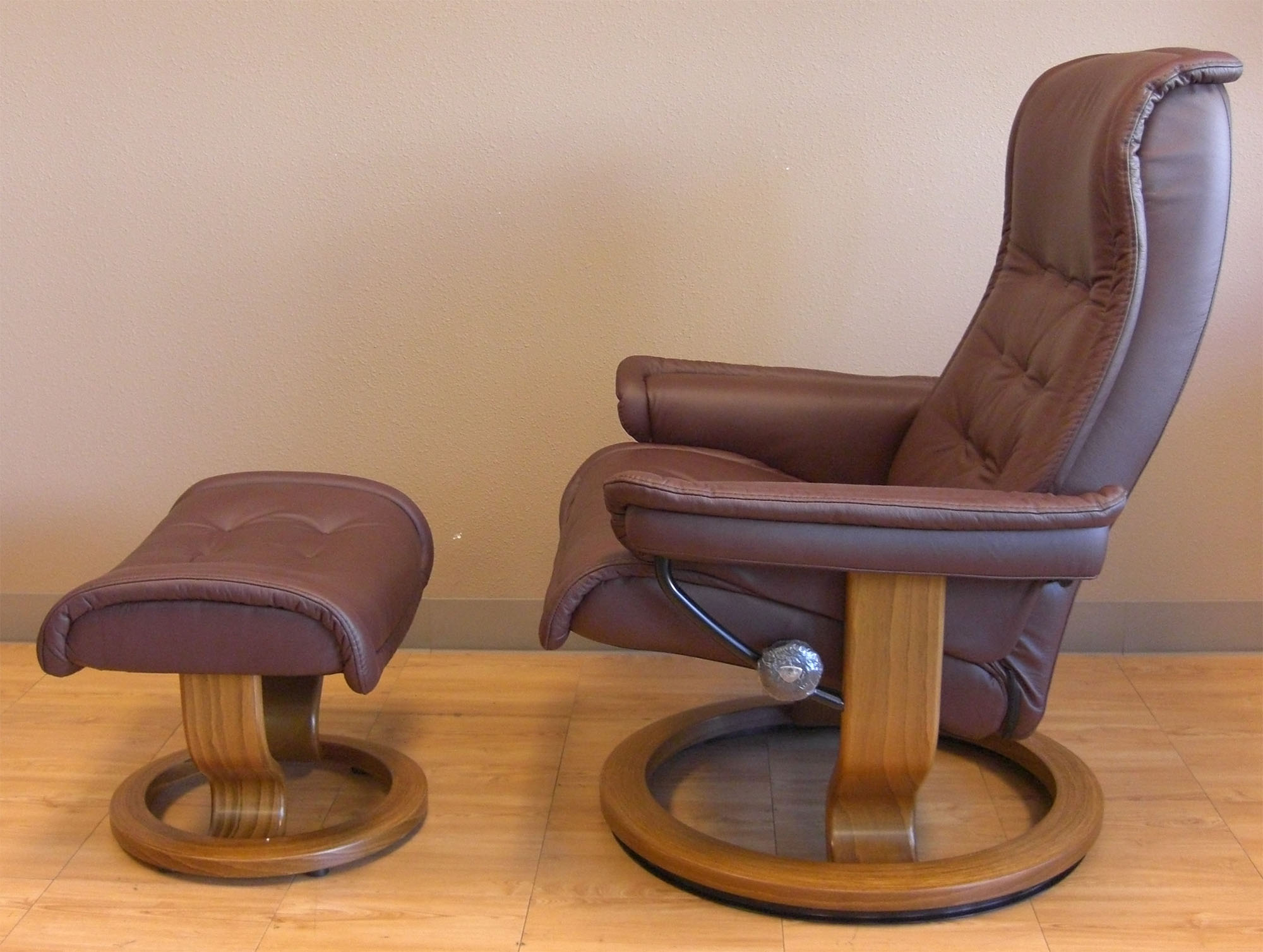 Stressless Paloma Coffee 09433 Leather Color Recliner Chair and Ottoman from Ekornes