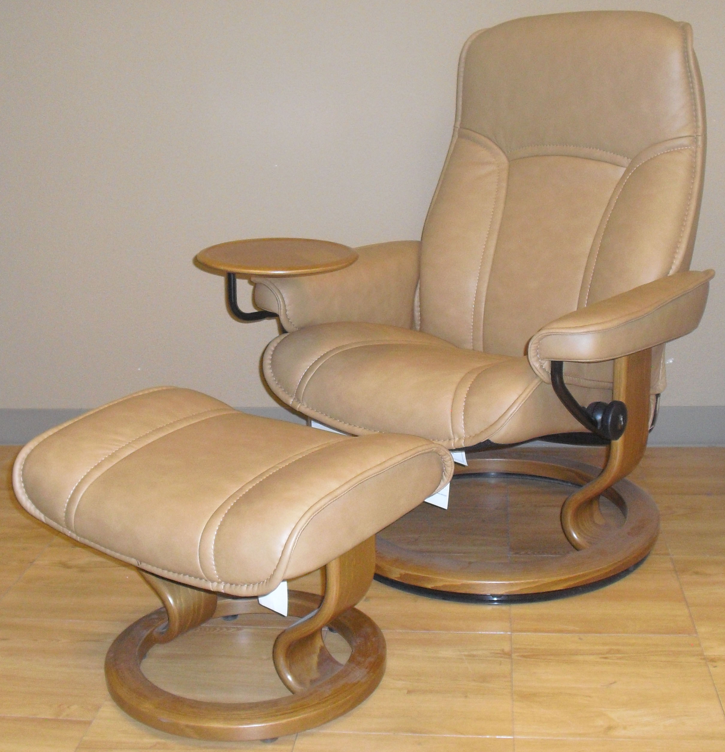 Charming Stressless Senator Paloma Taupe Leather Recliner And Ottoman