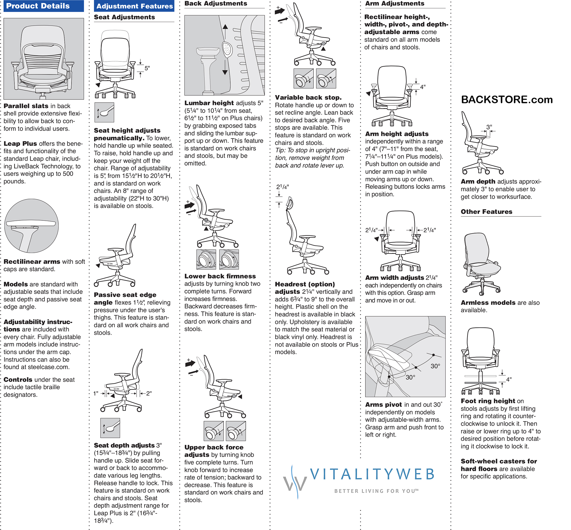 steelcase leap plus chair options and features