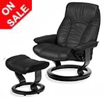 Stressless Senator Recliner Chair and Ottoman by Ekornes