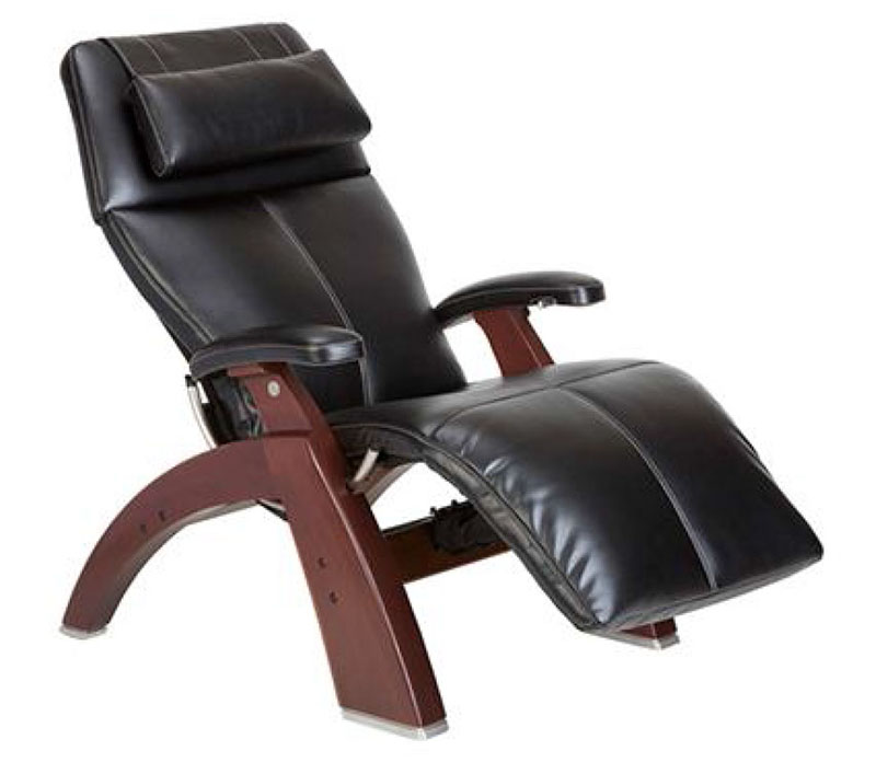 Black Top Grain Leather Chestnut Wood Base Series 2 Classic PC-420 Manual Perfect Chair Zero Gravity Power Recliner by Human Touch