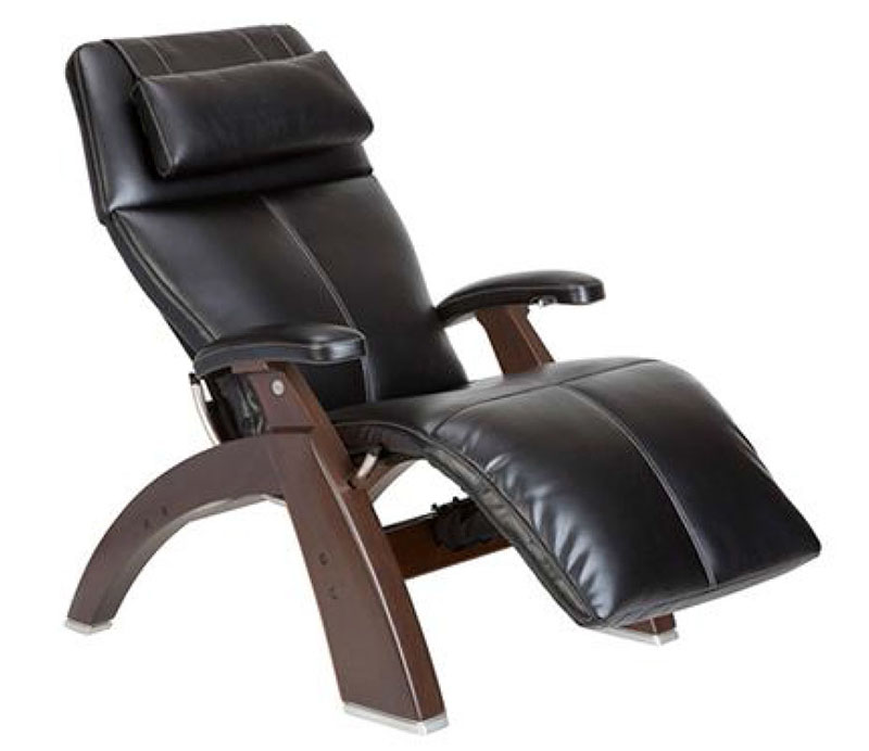 Black SoftHyde Vinyl Dark Walnut Wood Base Series 2 Classic PC-600 Power Silhouette Omni-Motion Perfect Chair Zero Gravity Power Recliner by Human Touch