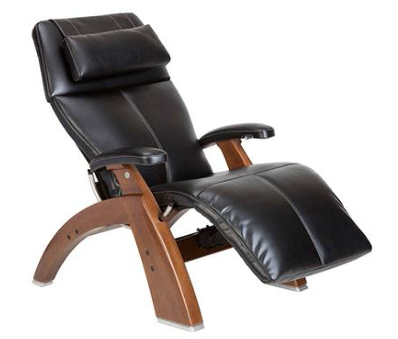 Black Top Grain Leather with a Walnut Wood Base Series 2 Classic PC-420 Manual Perfect Chair Zero Gravity Power Recliner by Human Touch